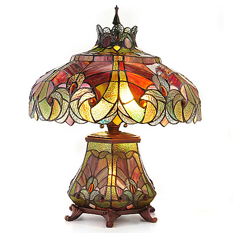 405-238 - Tiffany-Style 22'' Halston Short Stained Glass Double Lit Table Lamp