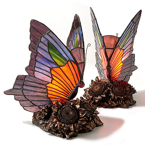 set of two 8 5 dalla butterfly stained glass accent lamps. Black Bedroom Furniture Sets. Home Design Ideas