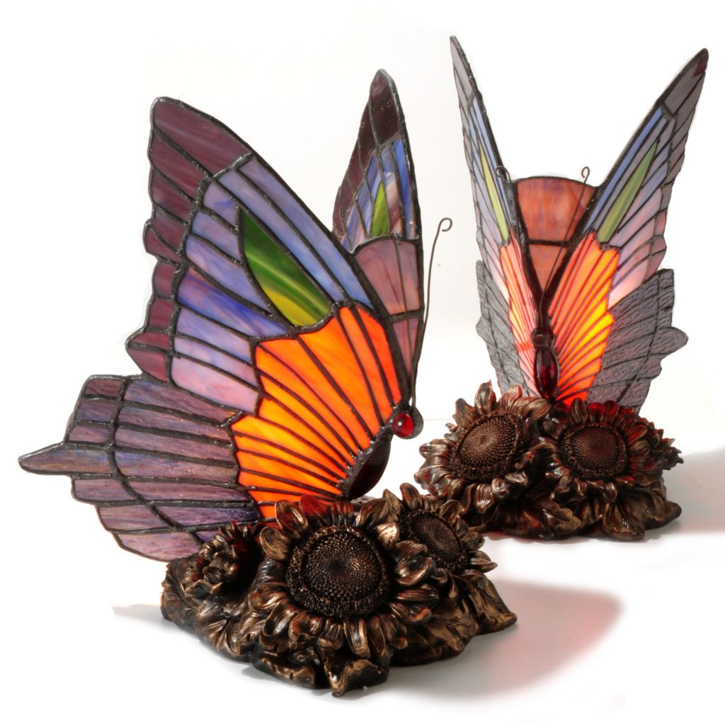 405-265 - Tiffany-Style Set of Two Dalla Stained Glass Butterfly Table Lamps