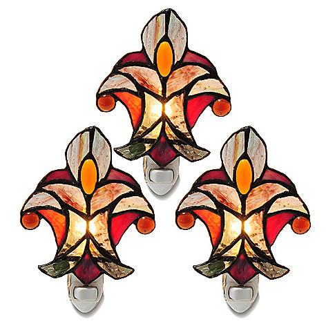 405-479 - Tiffany-Style Set of Three Halston Stained Glass Nightlights