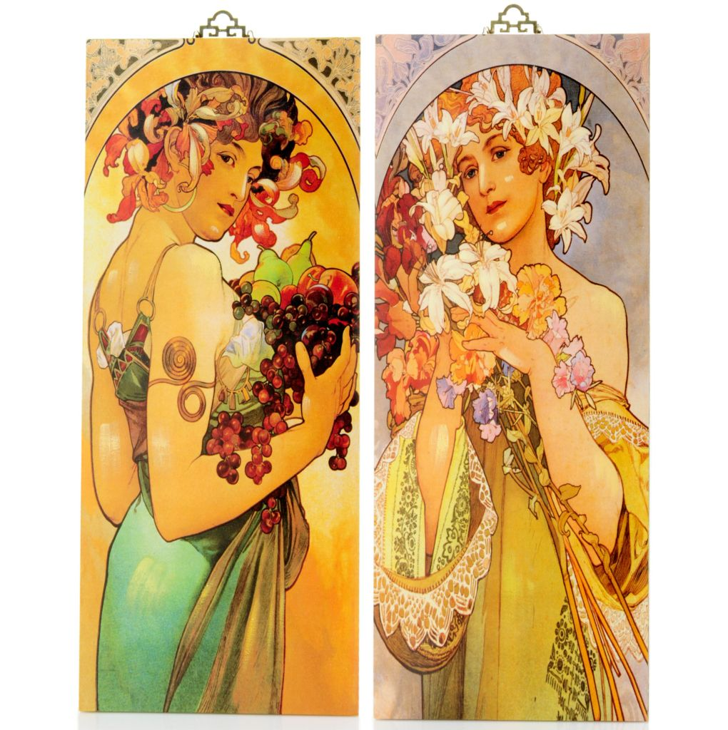 "405-577 - Style at Home with Margie 29"" Two-Piece Aroma of Spring Mucha Reversible Wall Panels"