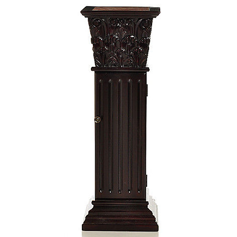 405-579 - Style at Home with Margie 36'' Carlson Marble Inlay Storage Pedestal