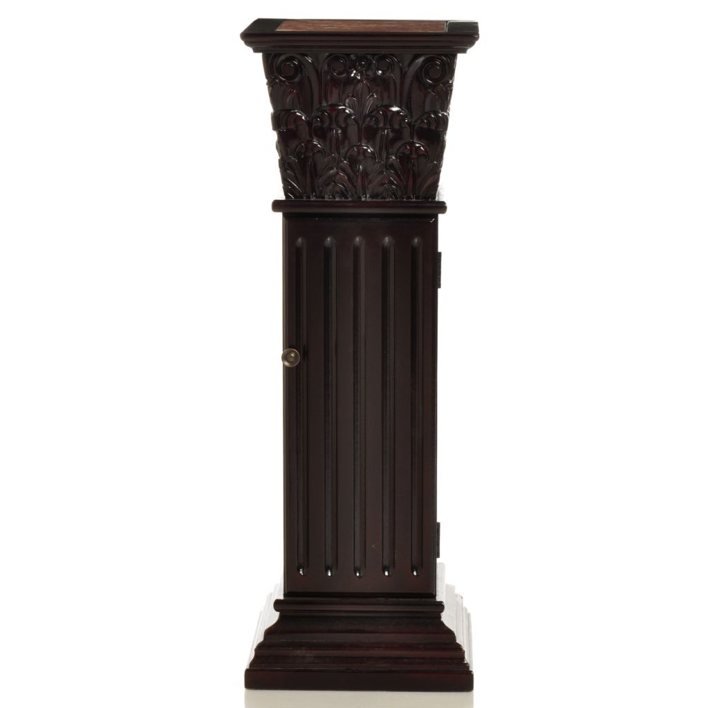 "405-579 - Style at Home with Margie 36"" Carlson Marble Inlay Storage Pedestal"