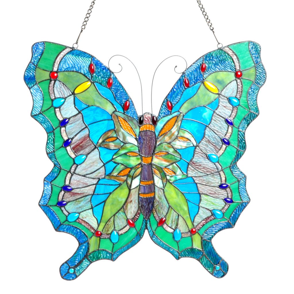 "405-654 - Tiffany-Style 23"" Ocean Butterfly Stained Glass Window Panel"