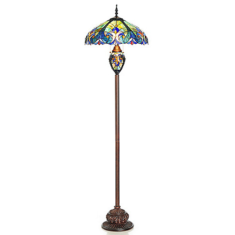 405-802 - Tiffany-Style 65'' Halston Double Lit Stained Glass Floor Lamp