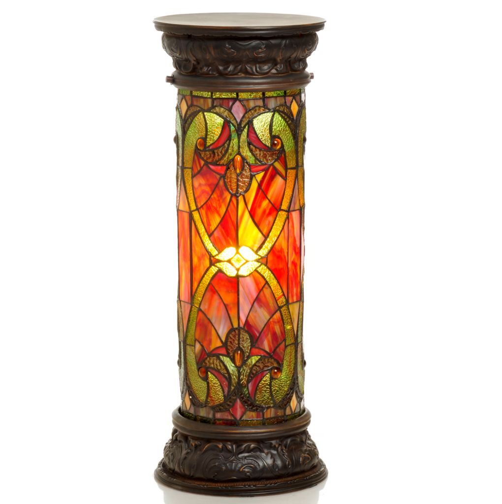 "405-804 - Tiffany-Style 27"" Halston Stained Glass Lit Pedestal Lamp"