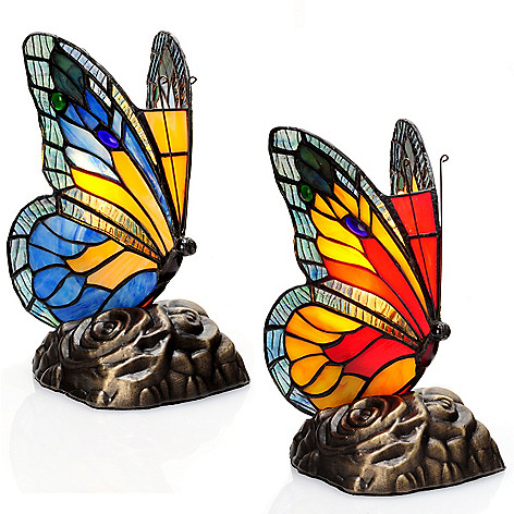405-807 - Tiffany-Style Set of Two 8'' Butterfly Stained Glass Touch Accent Lamps