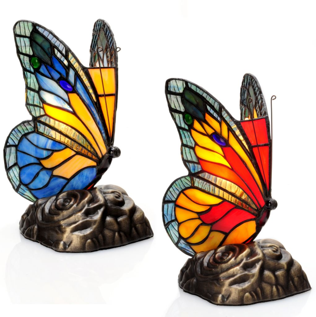 "405-807 - Tiffany-Style Set of Two 8"" Butterfly Stained Glass Touch Accent Lamps"