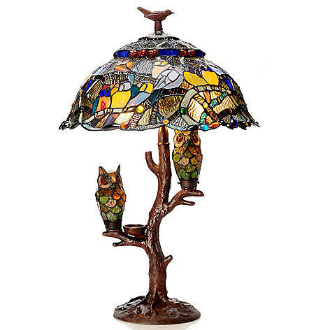 405-856 - Tiffany-Style 28.5'' Parliament Triple Lit Stained Glass Table Lamp