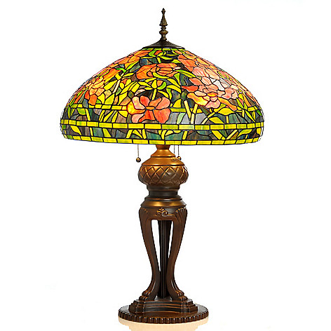 406-034 - Tiffany-Style 34'' Elaborate Peony Stained Glass Table Lamp