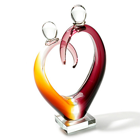 406-089 - Favrile 12.5'' Hand-Blown Art Glass Heart Figurine