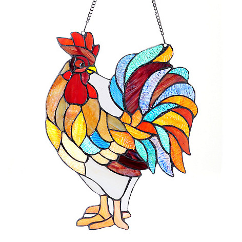 406-127 - Tiffany-Style 15.5'' x 12'' Cock-a-Doodle-Doo Hanging Stained Glass Window Panel