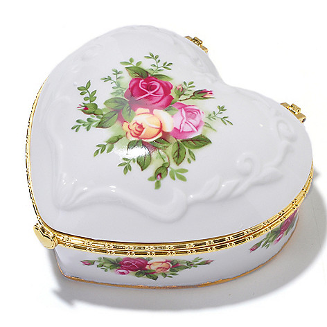 406-160 - Royal Albert Old Country Roses 2-1/2'' Porcelain Musical Heart Jewelry Box