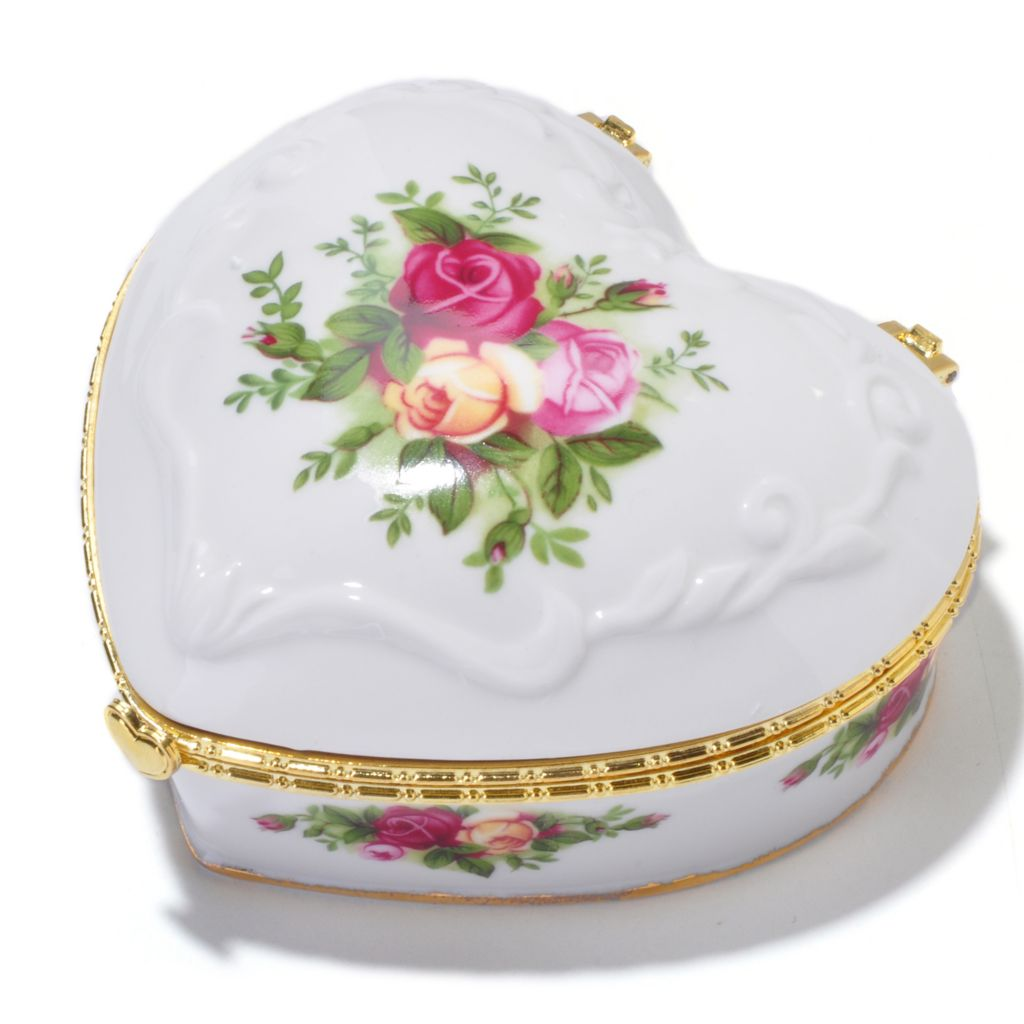 "406-160 - Royal Albert® Old Country Roses 2-1/2"" Porcelain Musical Heart Jewelry Box"