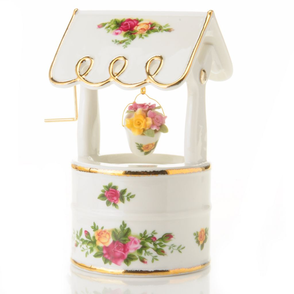 "406-181 - Royal Albert® Old Country Rose 6"" Porcelain Musical Wishing Well"
