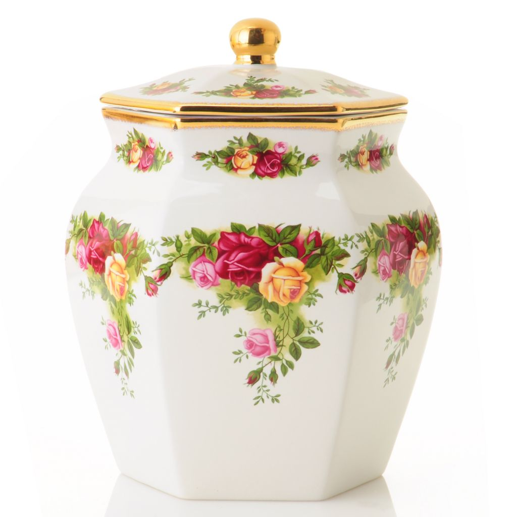 "406-183 - Royal Albert® Old Country Roses 7.5"" Porcelain Biscuit Jar- Signed by Michael Doulton"