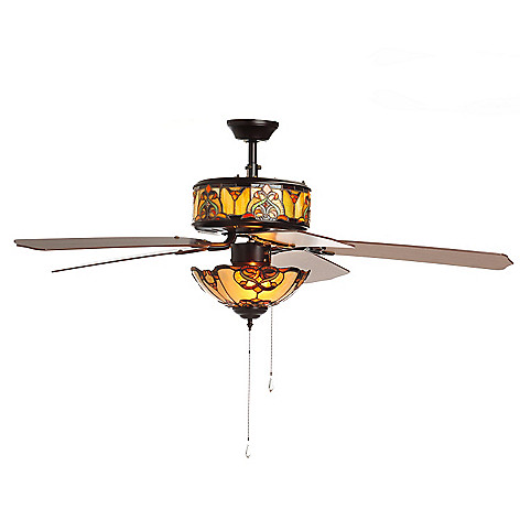 406-188 - Tiffany-Style 52'' Touch of Elegance Double-Lit Stained Glass Ceiling Fan