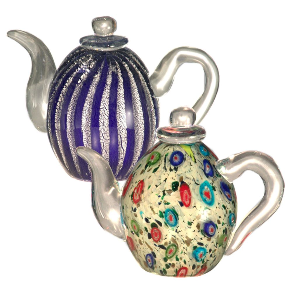 "406-231 - Favrile Set of Two 4.75"" Hand-Blown Art Glass Teapots"