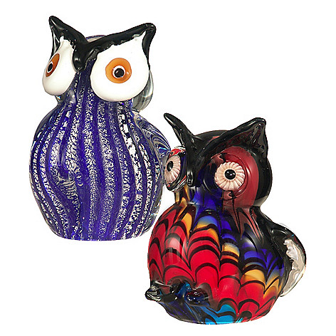 406-232 - Favrile Set of Two 4.75'' Hand-Blown Art Glass Owl Figurines