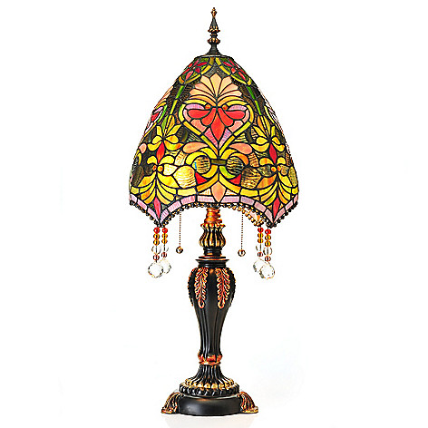 406-613 - Tiffany-Style 30.5'' Brianne's Stained Glass Table Lamp w/ Beaded Shade