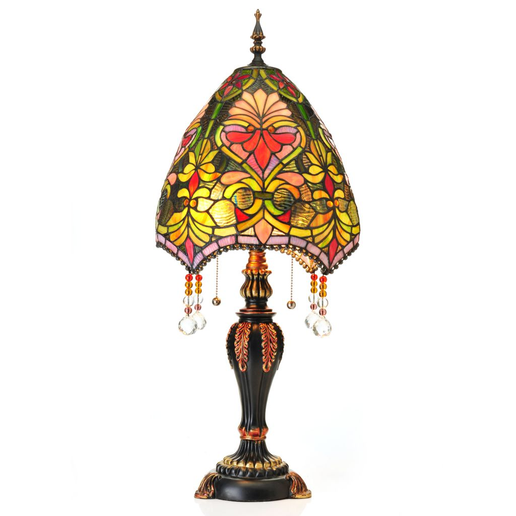 "406-613 - Tiffany-Style 30.5"" Brianne's Stained Glass Table Lamp w/ Beaded Shade"