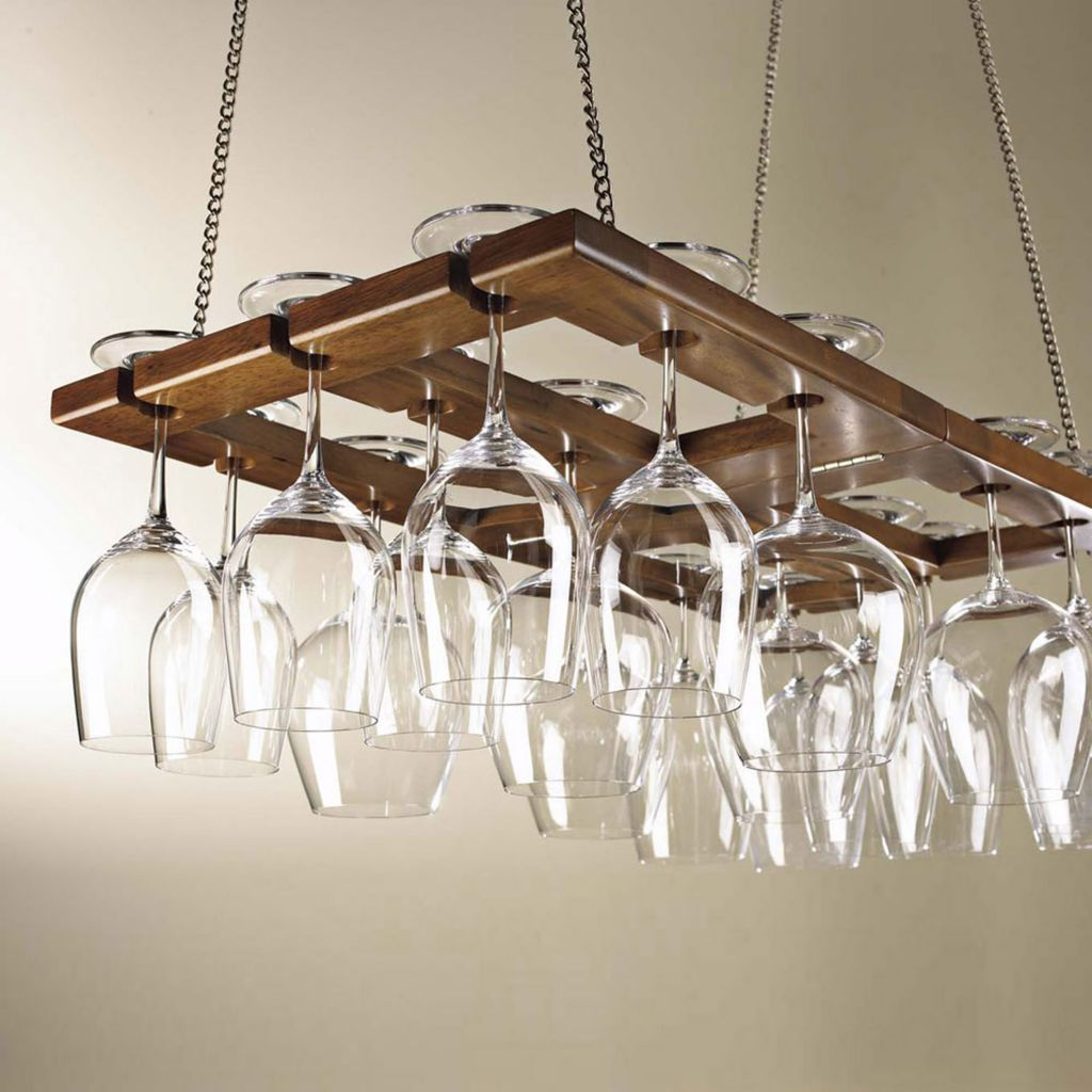 407-517 - Hanging Oak Wine Glass Rack