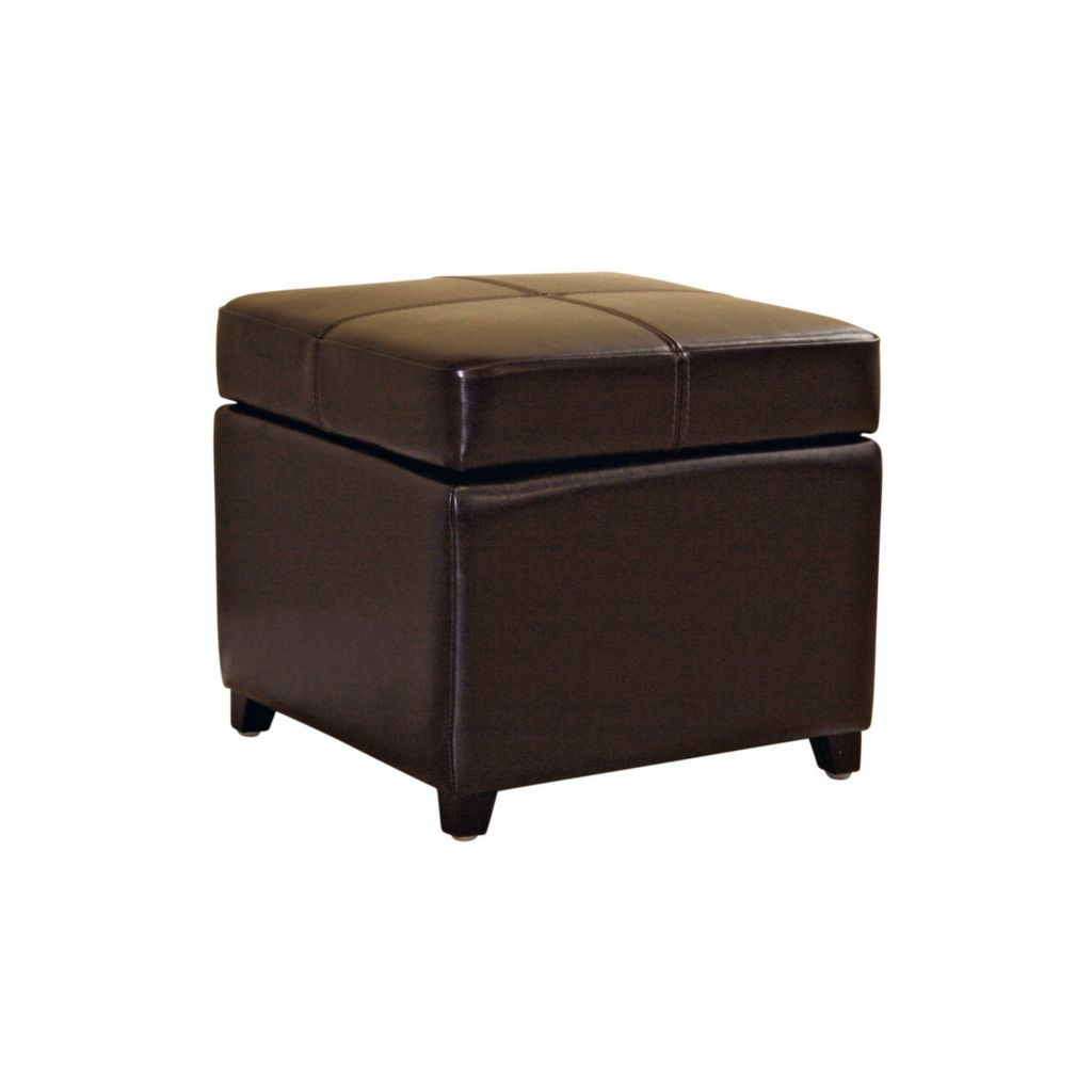 408-449 - Baxton Studio Dark Brown Leather Storage Ottoman