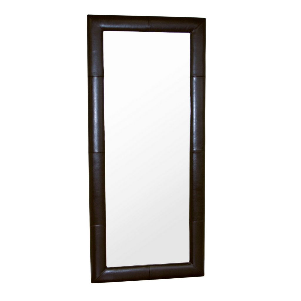 408-471 - Baxton Studio Brown Leather Framed Floor Mirror
