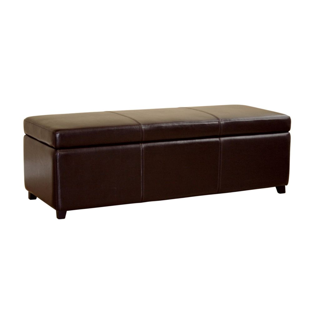 408-502 - Espresso Brown Leather Storage Bench