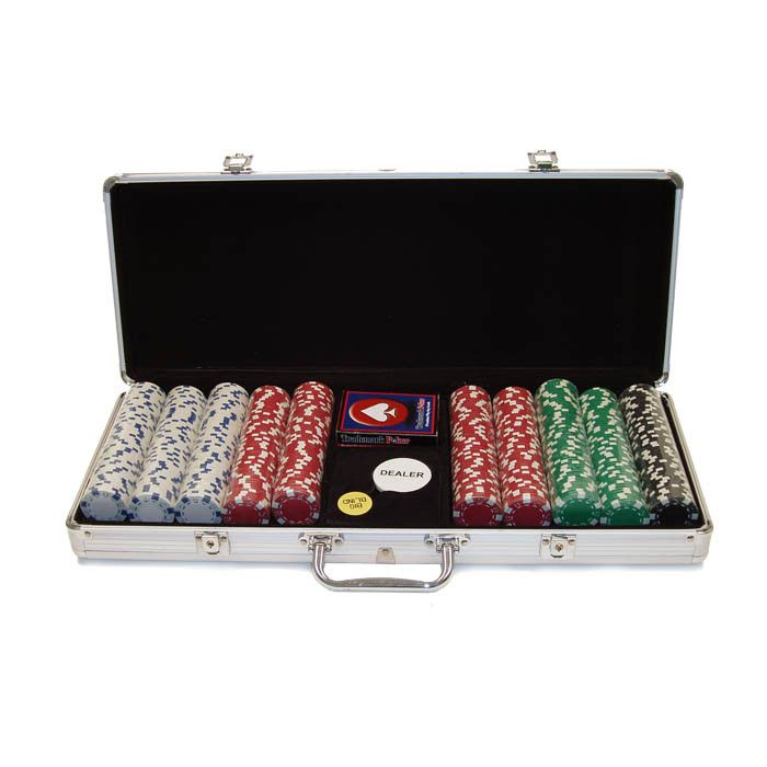 410-607 - Set of 500 11.5g Dice Striped Poker Chips w/ Aluminum Case