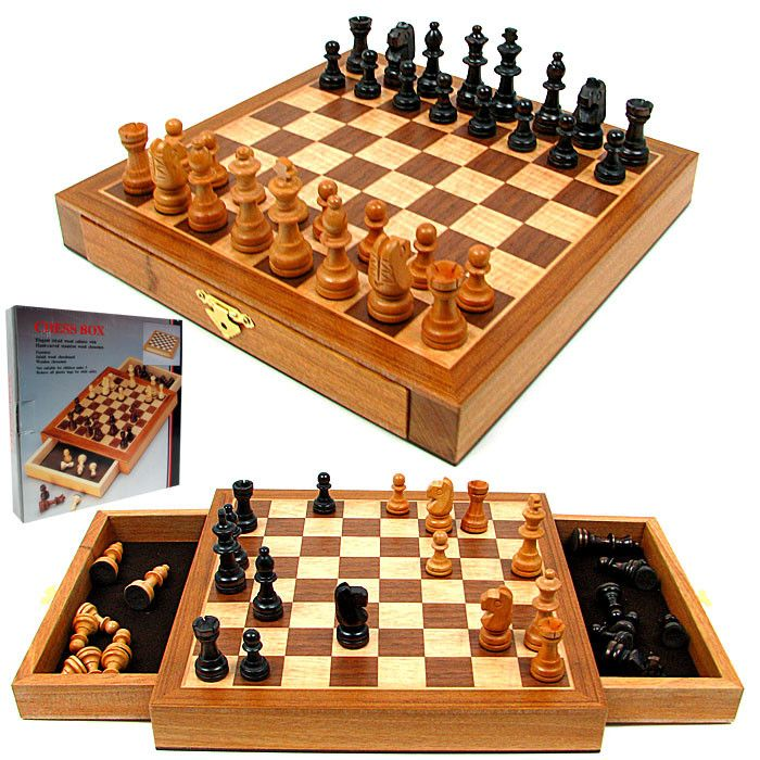 410-640 - Inlaid Wood Chess Set Cabinet w/ Wood Chessmen