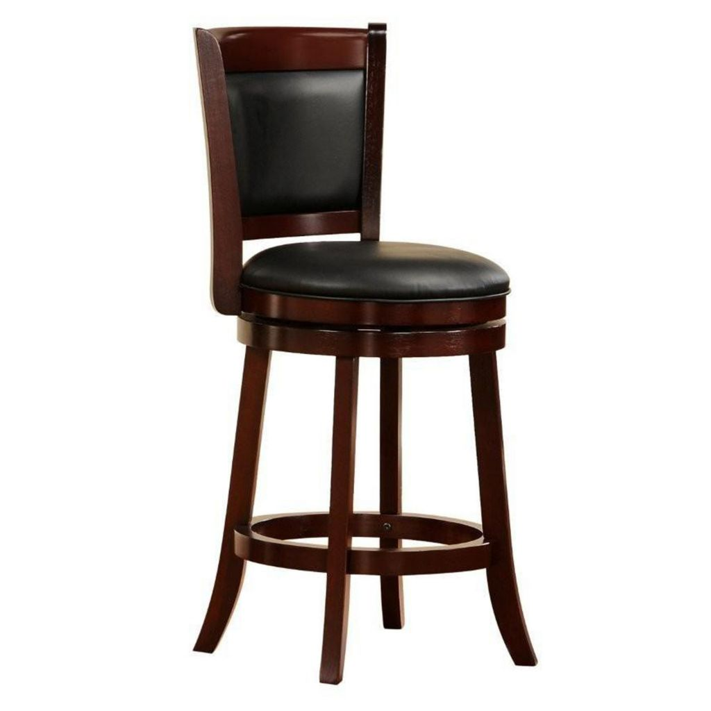 "410-938 - HomeBasica 24"" Counter Height Cherry-Finish Swivel Bar Stool"