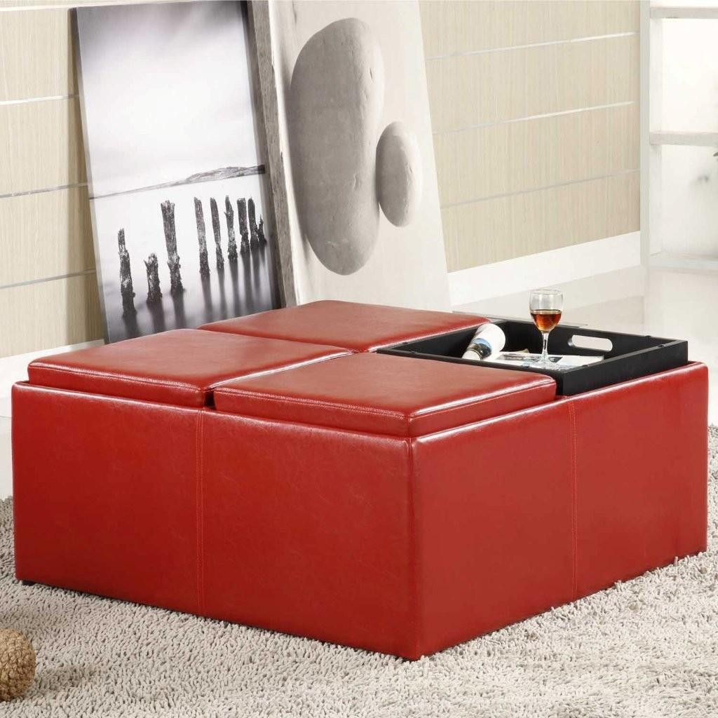 410-966 - HomeBasica Four Tray Red Ottoman