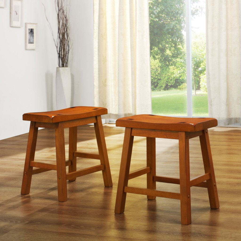 "410-967 - HomeBasica 18"" Oak-Style Asian Hardwood Bar Stool - Set of Two"