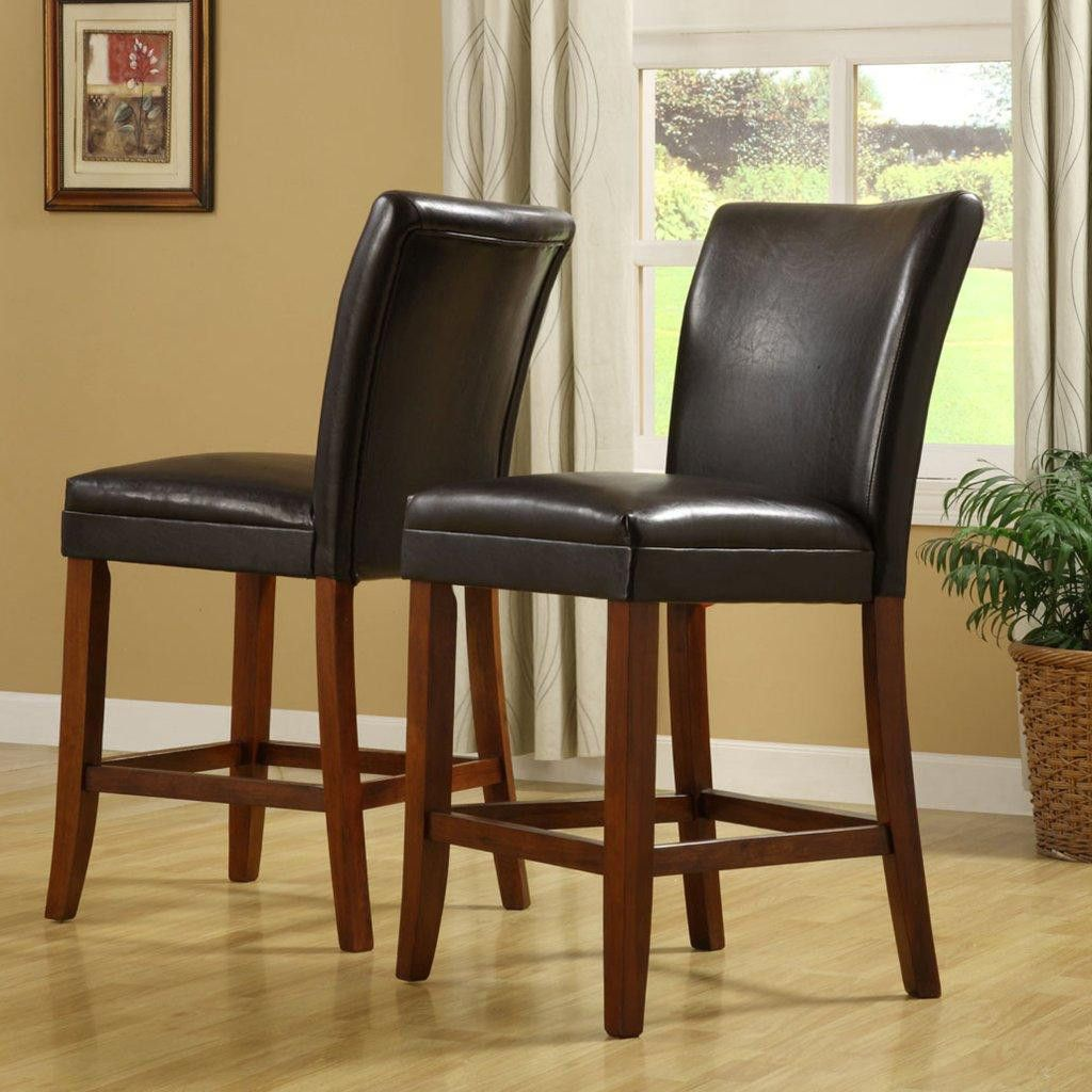 410-989 - HomeBasica Parson Cherry-Style Asian Hardwood Pub Stool - Set of Two
