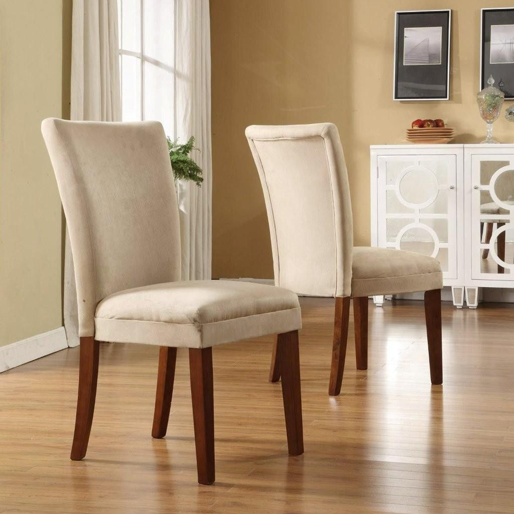 410-999 - HomeBasica Parson Peat Microfiber Asian Hardwood Chair - Set of Two