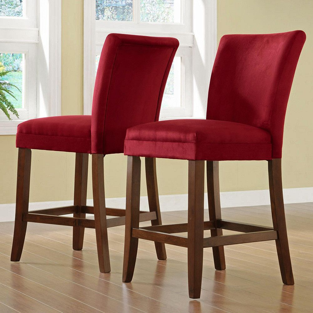 411-000 - HomeBasica Parson Red Microfiber Asian Hardwood Pub Stool - Set of Two