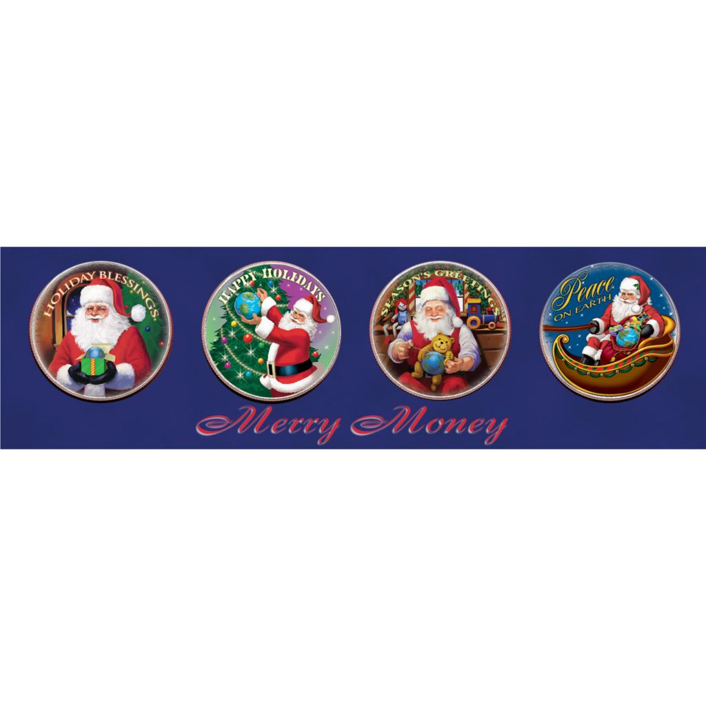 "411-551 - ""Merry Money"" Four Piece Colorized JFK Half Dollar Coin Set"