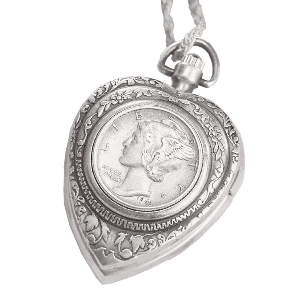 411-605 - Silver-tone Mercury Dime Heart Watch Pendant