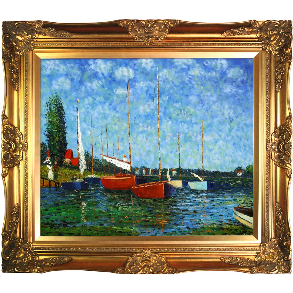 "412-137 - Red Boats At Argenteuil By Claude Monet Reproduction 24"" x 20"" Oil Painting On Canvas"