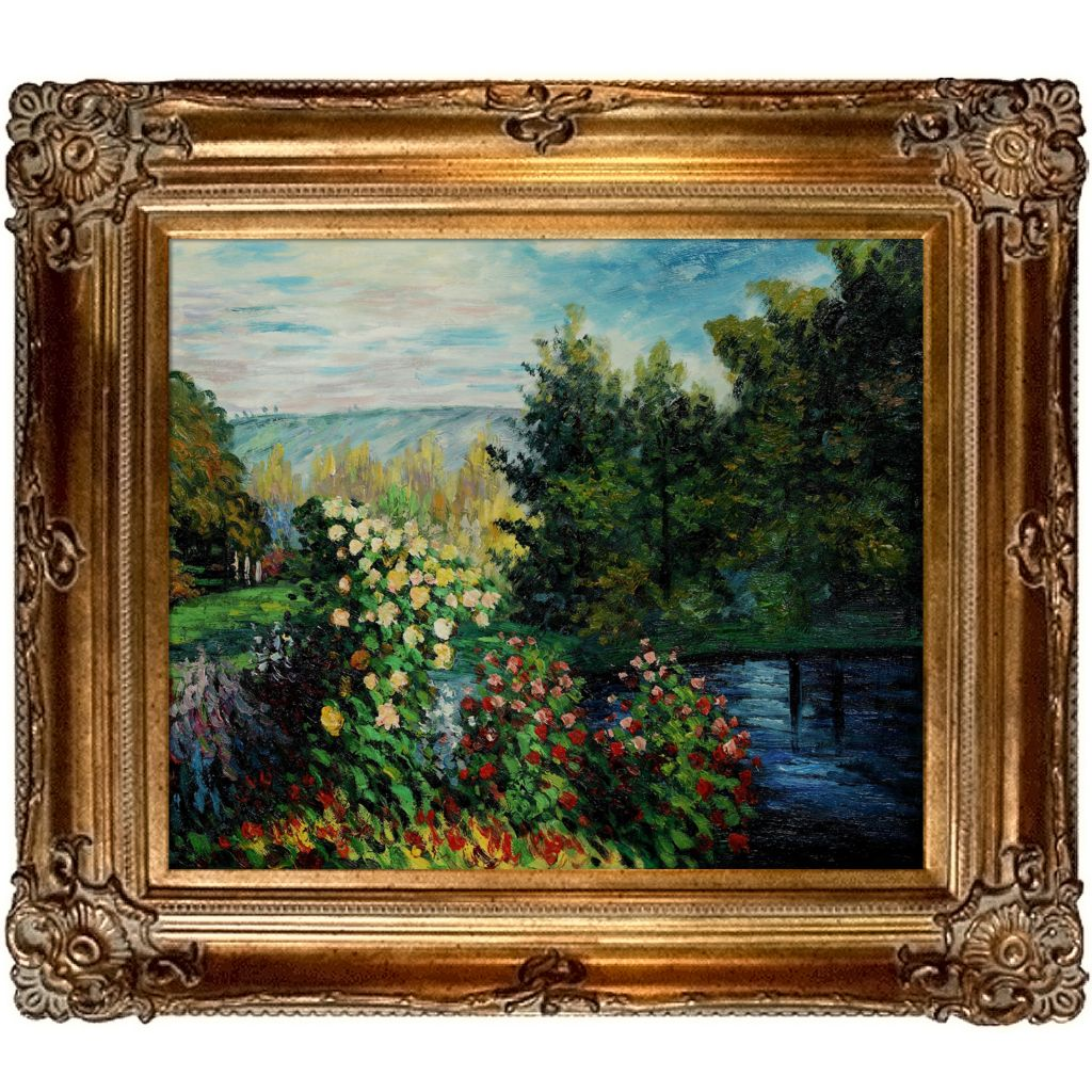 "412-161 - Corner Of The Garden At Montgeron By Claude Monet Reproduction 24"" x 20"" Oil Painting On Canvas"