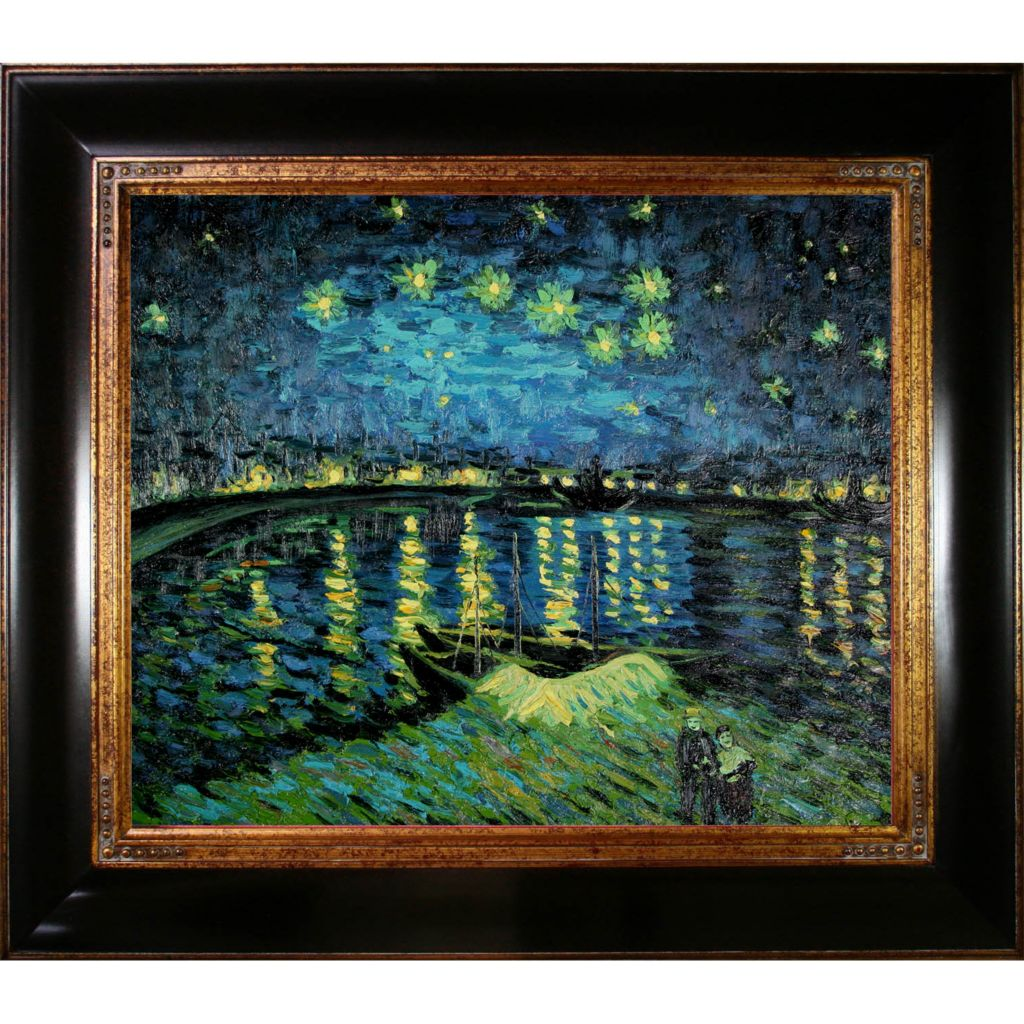 "412-221 - Starry Night Over the Rhone By Vincent Van Gogh Reproduction 24"" x 20"" Oil Painting On Canvas"