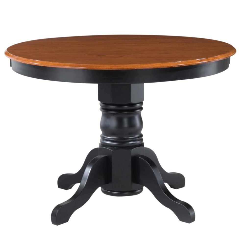 412-357 - Home Styles Black & Oak Finish Round Pedestal Dining Table