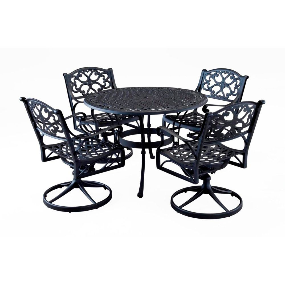 "412-569 - Home Styles Five-Piece 48"" Round Table Swivel Chair Outdoor Dining Set"