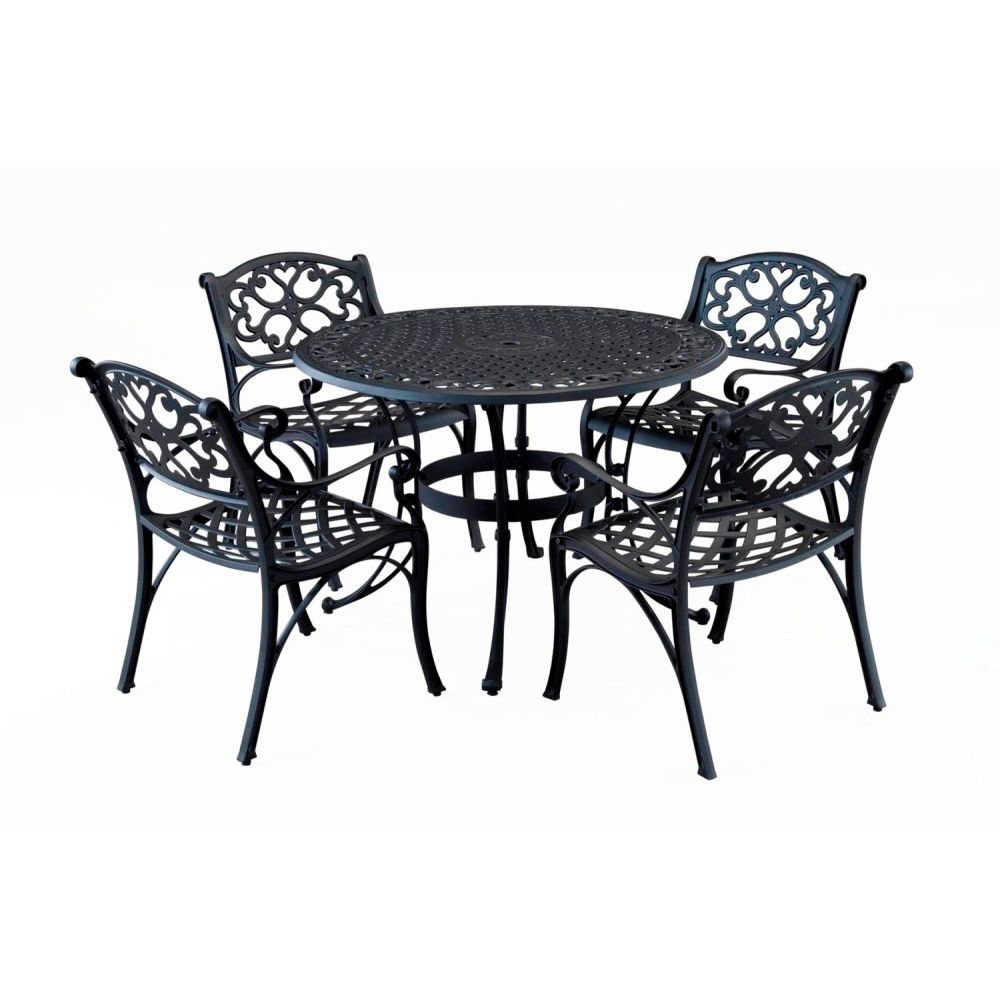 "412-570 - Home Styles Five-Piece 48"" Round Table Arm Chair Outdoor Dining Set"