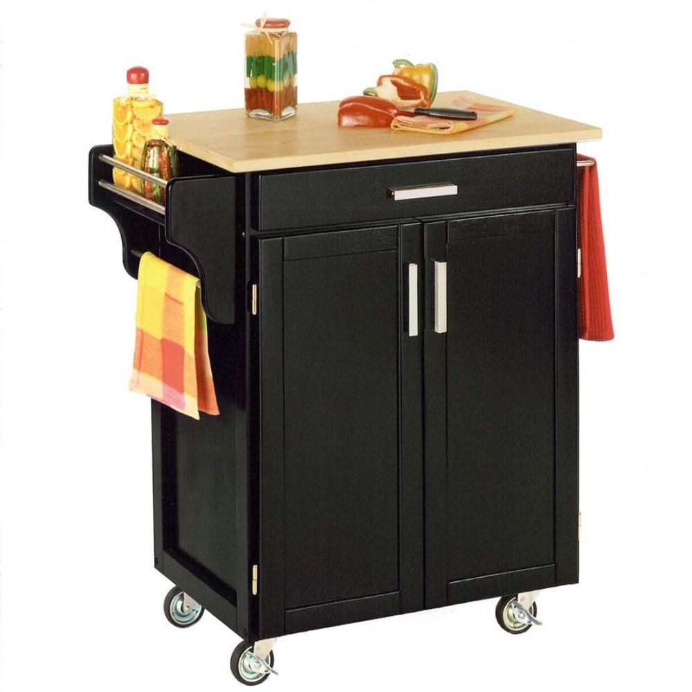 412-587 - Home Styles Natural Finish Wood Top Small Kitchen Cart