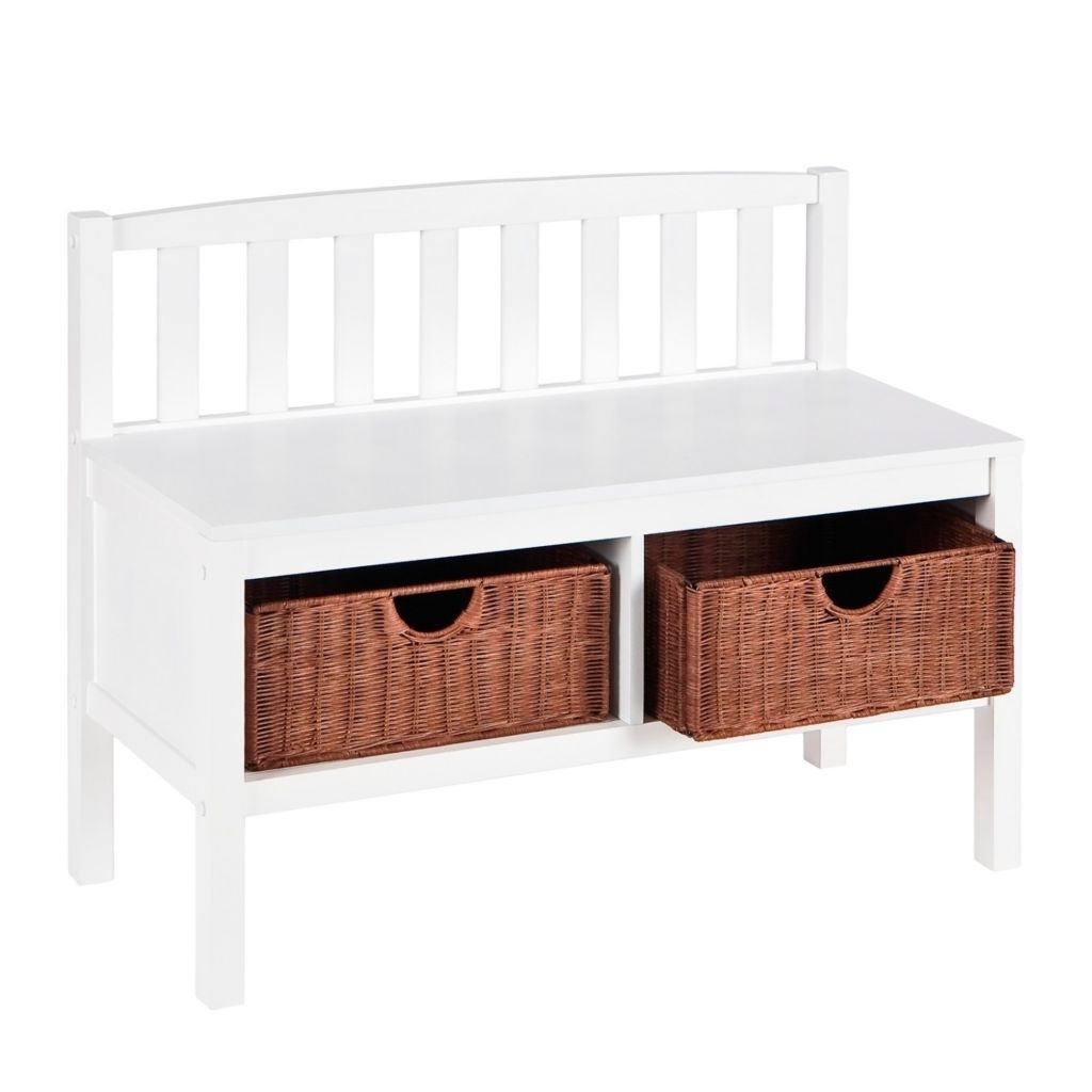 413-020 - White Bench with Brown Rattan Baskets