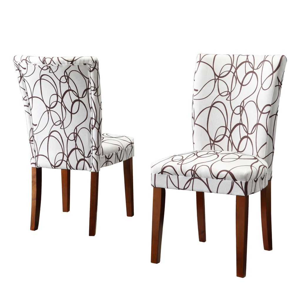 414-390 - HomeBasica Set of Two Swirl Print Dining Chairs