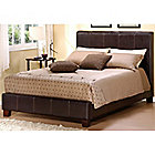 414-411 - HomeBasica Dark Brown Faux Leather Queen-Size Bed