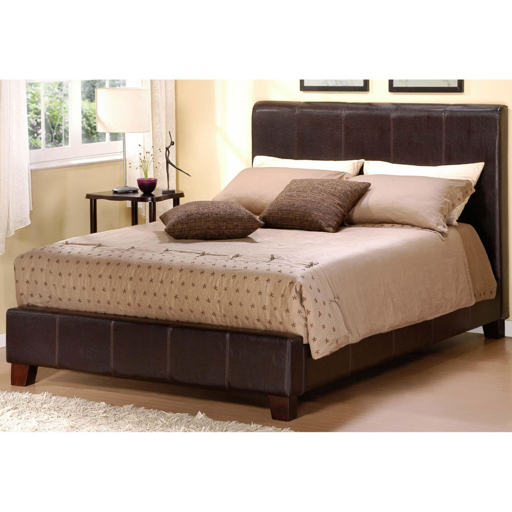 414-411 - DARK BROWN FAUX LEATHER QUEEN-SIZE BED